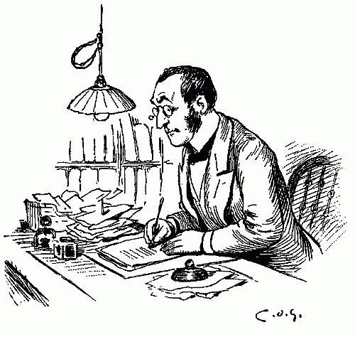 free public domain image man with glass writing at desk clerk thank you card paying bills dot is pen ink drawing