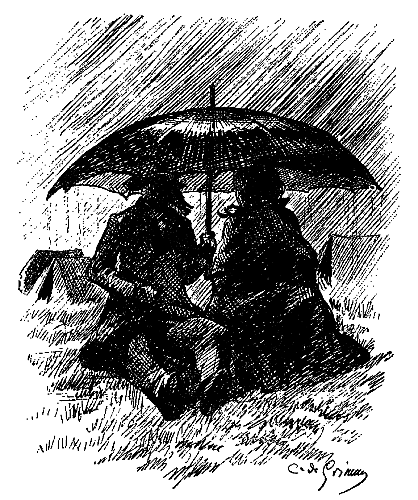 Silhouette of couple picnicking under umbrella in the rain