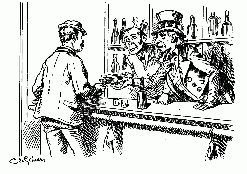 free public domain image uncle sam takes his cut of the money taxes bar tender drinks alcohol supports the government pen ink drawing