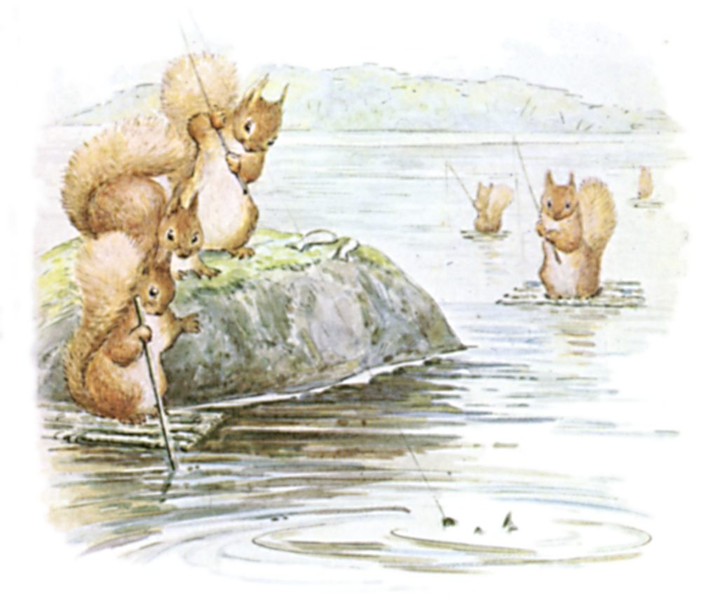 public domain images 13 color drawing of squirrels fishing in lake
