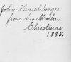 001 inscription john harshberger from his mother christmas 1885