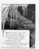 008 engraving of icicles framing a the night skys stars and crescent moon