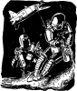 01 space ship tethered to two astronauts in space suits tanks helmets From A TOM CORBETT Space Cadet Adventure SABOTAGE IN SPACE By CAREY ROCKWELL, 1955. ILLUSTRATIONS BY LOUIS GLANZMAN. Project Gutenberg Transcriber