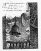 014 engraving big church bell in stone bell tower bats in flight