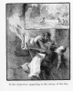 016 engraving of a woman being rescued from a fire out of a window and carried down a ladder