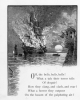 019 engraving a tall sailing ship at anchor on fire small boats rescue people bell moon
