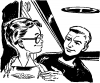 04 nerd with glasses and cool guy From A TOM CORBETT Space Cadet Adventure SABOTAGE IN SPACE By CAREY ROCKWELL, 1955. ILLUSTRATIONS BY LOUIS GLANZMAN. Project Gutenberg Transcriber
