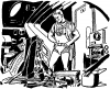 09 space man in shorts and scarf looking over broken equipment From A TOM CORBETT Space Cadet Adventure SABOTAGE IN SPACE By CAREY ROCKWELL, 1955. ILLUSTRATIONS BY LOUIS GLANZMAN. Project Gutenberg Transcriber
