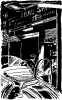 13 cyberpunk bar with man exiting open door of futuristic car From A TOM CORBETT Space Cadet Adventure SABOTAGE IN SPACE By CAREY ROCKWELL, 1955. ILLUSTRATIONS BY LOUIS GLANZMAN. Project Gutenberg Transcriber