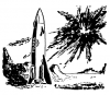 18 scifi polaris erect rocket explosion in sky From A TOM CORBETT Space Cadet Adventure DANGER IN DEEP SPACE By CAREY ROCKWELL, 1953, Illustrations by Louis Glanzman. Project Gutenberg Transcriber
