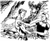 21 shirtless man arguing with another fellow in woods From A TOM CORBETT Space Cadet Adventure SABOTAGE IN SPACE By CAREY ROCKWELL, 1955. ILLUSTRATIONS BY LOUIS GLANZMAN. Project Gutenberg Transcriber